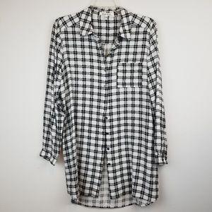 Black Rainn Tops - Black Rainn plaid button down tunic top size large